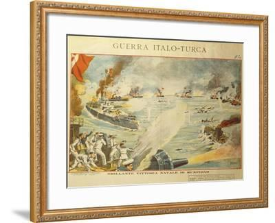 Engraving Depicting the Shelling of Kufindah, Italo Turkish War, Libia, 1911-12--Framed Giclee Print