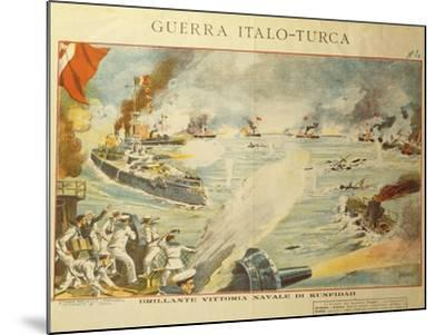 Engraving Depicting the Shelling of Kufindah, Italo Turkish War, Libia, 1911-12--Mounted Giclee Print