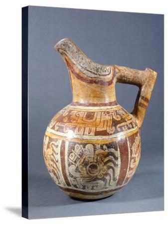 Polychrome Terracotta Jar Codex Type from Zaachila, Mexico--Stretched Canvas Print