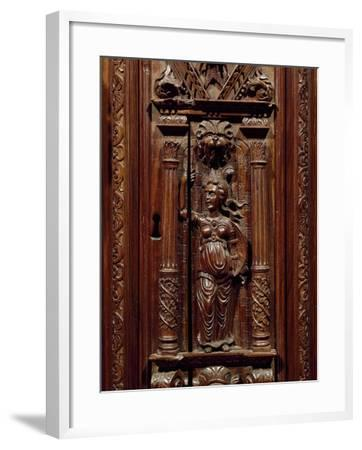 Carvings of Figures on Renaissance Style Walnut Cabinet, France, First Half 16th Century, Detail--Framed Giclee Print