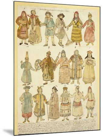 Men's and Women's Costumes--Mounted Giclee Print
