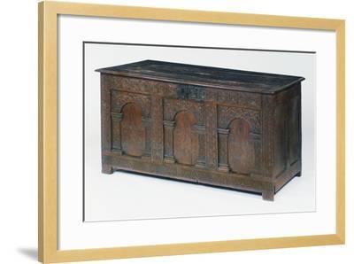 Carved and Inlaid Oak Chest, Circa 1600-1610, United Kingdom--Framed Giclee Print