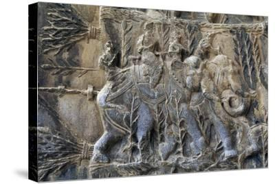 Bas-Reliefs with Hunting Scenes with Elephants, Caves of Taq-E Bustan, Iran, Sasanian Civilization--Stretched Canvas Print