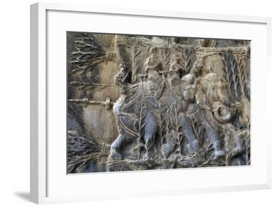 Bas-Reliefs with Hunting Scenes with Elephants, Caves of Taq-E Bustan, Iran, Sasanian Civilization--Framed Giclee Print