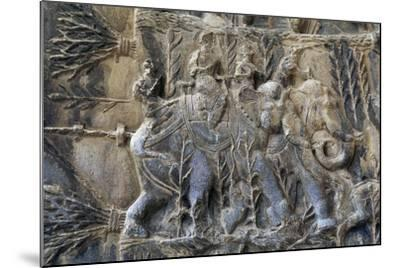 Bas-Reliefs with Hunting Scenes with Elephants, Caves of Taq-E Bustan, Iran, Sasanian Civilization--Mounted Giclee Print