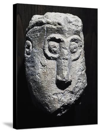 Stone Head with Gorgon Shape, Picenum Culture--Stretched Canvas Print