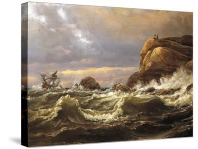 Norway, Painting of Very Rough Sea--Stretched Canvas Print