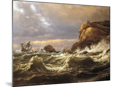 Norway, Painting of Very Rough Sea--Mounted Giclee Print