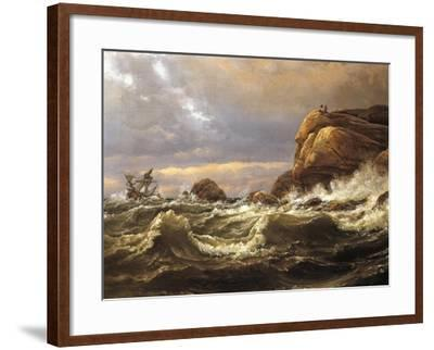 Norway, Painting of Very Rough Sea--Framed Giclee Print