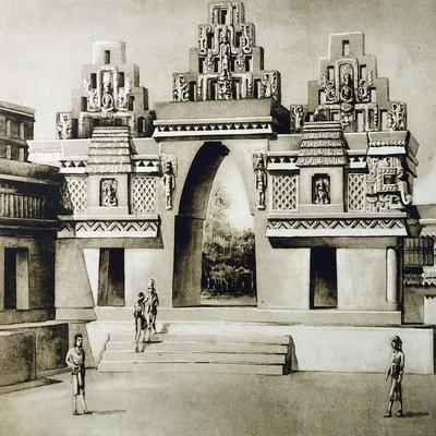 Design-Reconstruction of the Arc of Labna, Puuc Style, Mexico--Framed Giclee Print