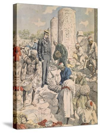Archaeological Excavations in Antinoe from Petit Journal, 1904--Stretched Canvas Print