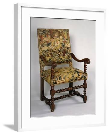 Louis XIII Style Armchair with Turned Frame and Upholstered Back and Seat, France--Framed Giclee Print
