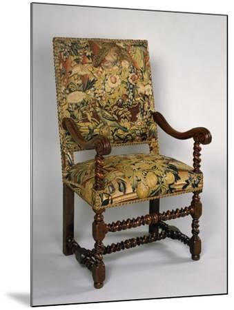 Louis XIII Style Armchair with Turned Frame and Upholstered Back and Seat, France--Mounted Giclee Print