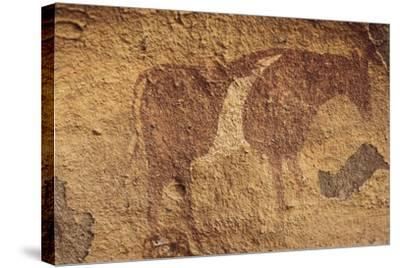 Algeria, Sahara Desert, Tassili-N-Ajjer National Park, Rock Carving Depicting Ox--Stretched Canvas Print