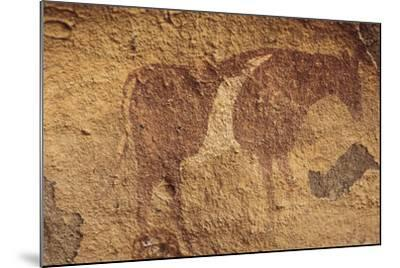 Algeria, Sahara Desert, Tassili-N-Ajjer National Park, Rock Carving Depicting Ox--Mounted Giclee Print