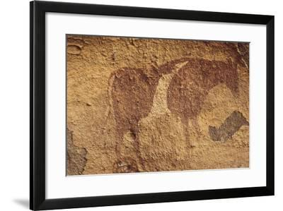 Algeria, Sahara Desert, Tassili-N-Ajjer National Park, Rock Carving Depicting Ox--Framed Giclee Print