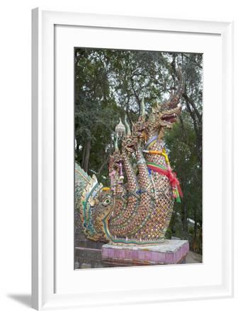 Detail of the Seven Headed Naga Guarding the 300 Steps to Wat Phrathat Doi Suthep, Thailand--Framed Giclee Print