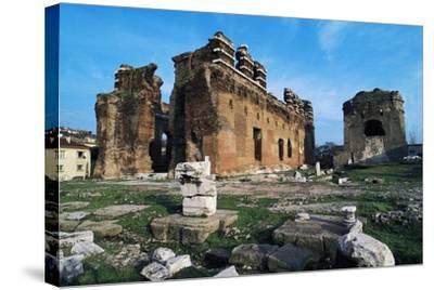Turkey Pergamon Red Basilica, Pergamon, Turkey--Stretched Canvas Print