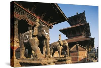 Nepal, Lalitpur, Patan, Elephant Statues Opposite Temples of Vishnata and Bishmen Mandir--Stretched Canvas Print