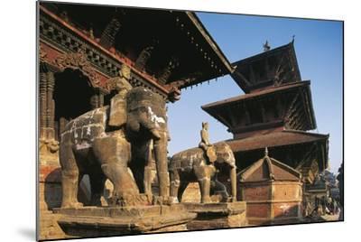 Nepal, Lalitpur, Patan, Elephant Statues Opposite Temples of Vishnata and Bishmen Mandir--Mounted Giclee Print