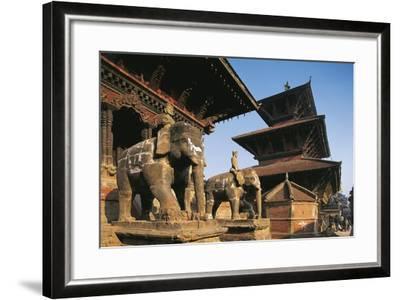 Nepal, Lalitpur, Patan, Elephant Statues Opposite Temples of Vishnata and Bishmen Mandir--Framed Giclee Print