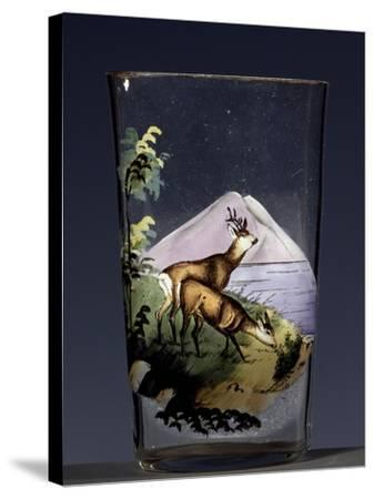 Deers in Mountain Landscape, Enameled Glass, Austria, Early 20th Century--Stretched Canvas Print