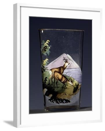 Deers in Mountain Landscape, Enameled Glass, Austria, Early 20th Century--Framed Giclee Print