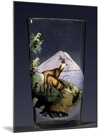 Deers in Mountain Landscape, Enameled Glass, Austria, Early 20th Century--Mounted Giclee Print
