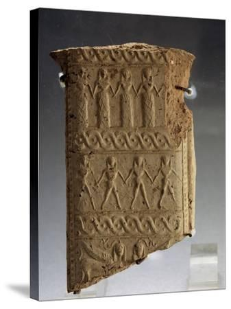 Clay Fragment with Stylized Human Figures from Calabria, Magno-Grecian Civilization, 7th Century BC--Stretched Canvas Print