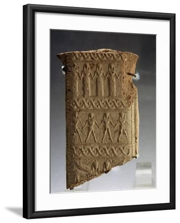 Clay Fragment with Stylized Human Figures from Calabria, Magno-Grecian Civilization, 7th Century BC--Framed Giclee Print