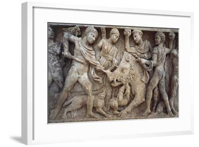 Roman Sarcophagus with Scene of Wild Boar Hunting, from Santa Maria Capua Vetere, Campania, Italy--Framed Giclee Print