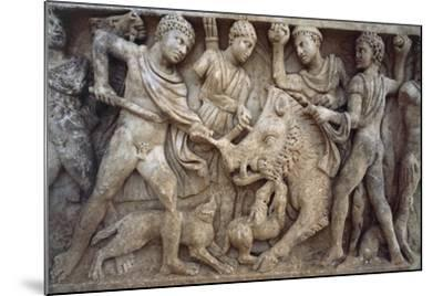 Roman Sarcophagus with Scene of Wild Boar Hunting, from Santa Maria Capua Vetere, Campania, Italy--Mounted Giclee Print