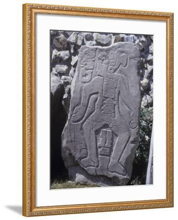 "Mexico, Stone Stele 55 Called ""The Dancer"" with Glyphs and Calendar--Framed Giclee Print"