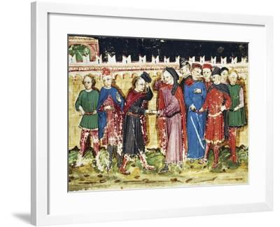 Bribing Tax Officials at the City Gates, Miniature from the Book of Privileges of Brescia--Framed Giclee Print