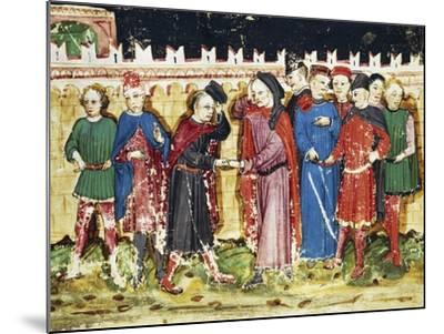Bribing Tax Officials at the City Gates, Miniature from the Book of Privileges of Brescia--Mounted Giclee Print