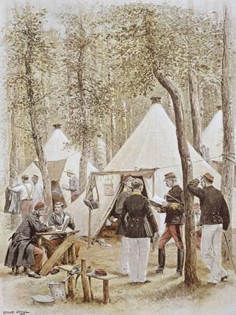Encampment During French Army Maneuvers, 1886, France--Framed Giclee Print