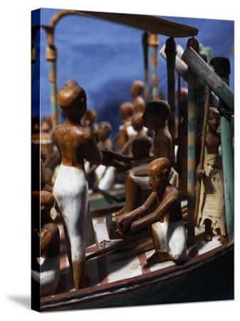Model of Ship, Painted Wood, from Deir El-Bahari, Detail--Stretched Canvas Print