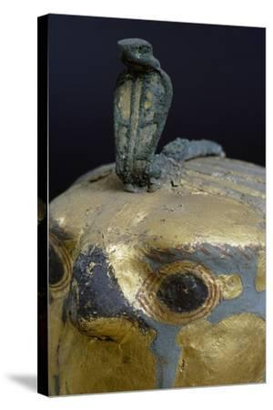 Cobra, Canopic Jar of Psusennes I in Alabaster and Gold Leaf Surmounted by a Falcon's Head--Stretched Canvas Print