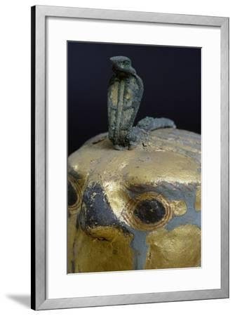Cobra, Canopic Jar of Psusennes I in Alabaster and Gold Leaf Surmounted by a Falcon's Head--Framed Giclee Print