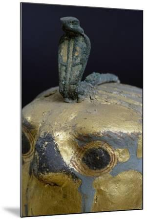 Cobra, Canopic Jar of Psusennes I in Alabaster and Gold Leaf Surmounted by a Falcon's Head--Mounted Giclee Print
