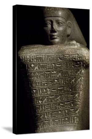 Granite Cube Statue of Yamu Nedjeh from Ourna--Stretched Canvas Print