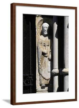 Statue of St. Peter, Entrance to Church of St. Mary Major, Tuscania, Lazio, Italy--Framed Giclee Print