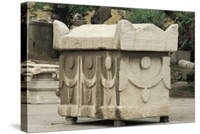 Egypt, Alexandria, Catacombs of Kom-Esh-Shuqafa, Sarcophagus--Stretched Canvas Print