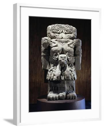 Stone Statue of Coatlicue, Goddess of Fire and Fertility--Framed Giclee Print