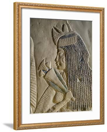 Dejat, Detail from the Painted Bas-Relief Depicting Imenmes and Dejat--Framed Giclee Print
