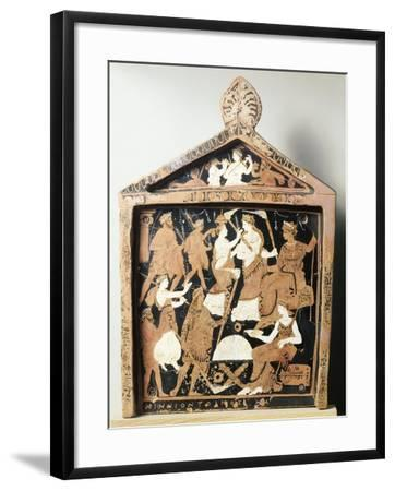 Greek Civilization, Red-Figure Pottery, Pinax Depicting Ritual, Ex-Voto from Eleusis, Greece--Framed Giclee Print