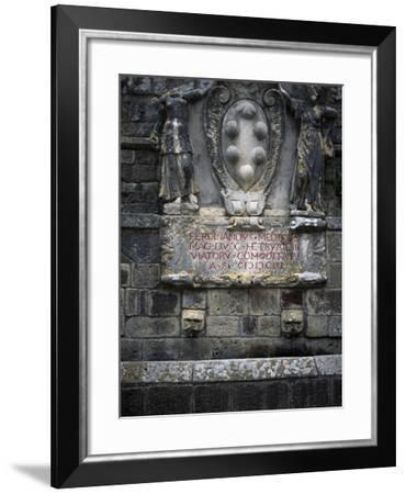 Medicis Coat of Arms on Fountain in Val D'Orcia, Natural, Artistic and Cultural Park--Framed Giclee Print