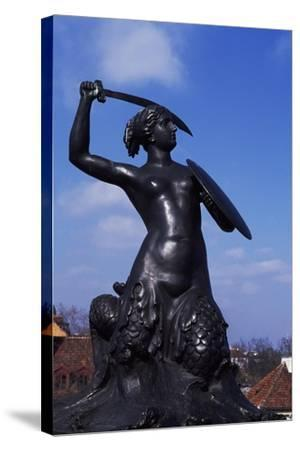 Mermaid Statue, Symbol of Warsaw Since 1855, Bronze Sculpture by Konstanty Hegel, Warsaw, Poland--Stretched Canvas Print