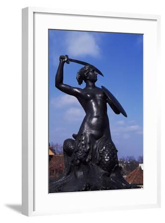 Mermaid Statue, Symbol of Warsaw Since 1855, Bronze Sculpture by Konstanty Hegel, Warsaw, Poland--Framed Giclee Print