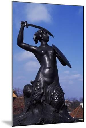 Mermaid Statue, Symbol of Warsaw Since 1855, Bronze Sculpture by Konstanty Hegel, Warsaw, Poland--Mounted Giclee Print